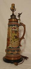 Vintage German 3 Liter Beer Stein Table Lamp Pewter Griffon Pitcher