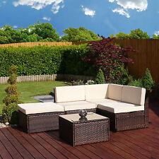 Aluminium Frame Rattan Weave Corner Sofa Set Garden Furniture Modular Cover Brown Faro