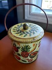 Vintage BARET WARE Biscuit Basket Tin Made in England FRUITS & VEGGIES