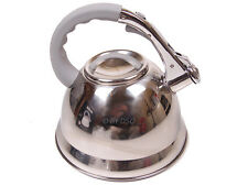 Anika 3 Ltr Stainless Steel Whistling Chrome Kettle Silicone Handle GREAT DEAL