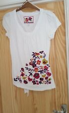 John Rocha Size 12 Tee Shirt Tie at back Embroidered flowers Ladies White