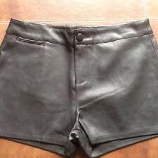 Ladies Black Faux Leather Shorts Size M