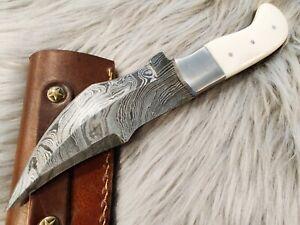 8' Damascus knife, Damascus Fixed Blade ,Hunting knife , Camel bone handle