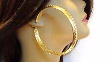 LARGE HOOP EARRINGS GOLD OR SILVER TONE FILIGREE ROUND 3.5 INCH HOOP EARRINGS