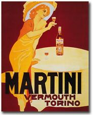 Paper Print Poster A4 Vintage Art Deco Martini Vermouth for Glass Frame