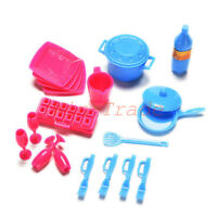 18Pcs Kitchen Tools Tableware Pots Pans Dishes for Barbie Doll House Furniture