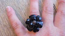 BLACK CRYSTAL FLOWER RING, FACETED PETALS ADORN & JET CRYSTAL, SIZE R