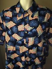 King Size Mens PATRIOTIC SHIRT 2XL Big BUTTON FRONT American Flag Fireworks USA