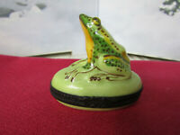 Limoges France Hand Painted Bull Frog Oval Hinged Trinket Box