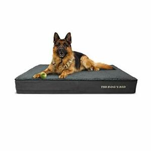 The Dog's Bed Orthopaedic Dog Bed Large Grey Plush 101x64x15cm, Waterproof