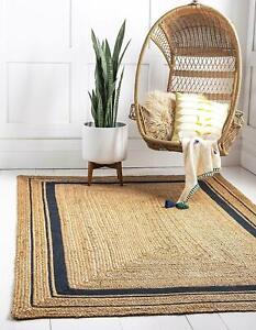 Rug 100% natural jute handmade reversible rustic look area carpet outdoor rugs