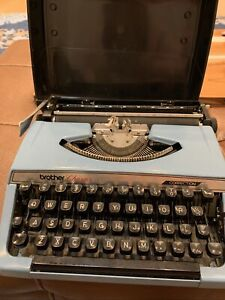 Brother Charger 11 Manual Typewriter with Correction Vintage Blue w/ case 10lbs