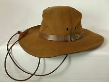 Mens Brown Leather Australian Outback Trading Company Hat All Weather Small S
