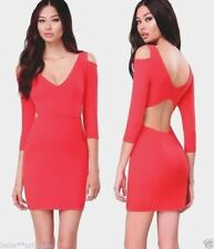 NWT bebe light red cold off shoulder open back bodycon stretchy dress M medium