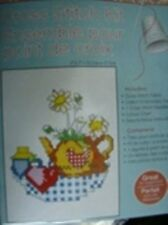 Teapot Flowerpot Counted Cross Stitch Kit-5x7 Inches