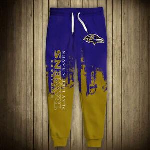 BALTIMORE RAVENS Men's Sweatpants Polyester Sweats Pants S-6XL Football Logo NEW