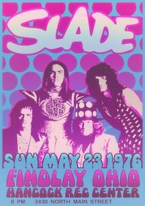 """Reproduction """"Slade - Findlay Ohio 1976"""" Poster, Various Sizes"""