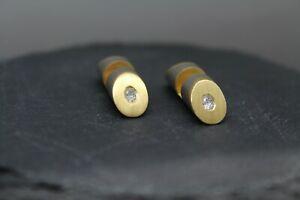 Einzigartige Manschettenknöpfe Platin 950 Gold 750 Oval Brillanten Diamanten 0,3