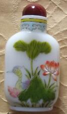 Old Signed Chinese Snuff Perfume Bottle Hand Painted Fired Enamel on Milk Glass