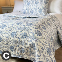Luxury Double / King Size Bed End Throw Set Bedspread White Blue French Toile