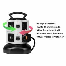 6 GANGS SURGE PROTECTED TOWER SOCKET EXTENSION 2M LEAD CABLE with 4 USB Chargers
