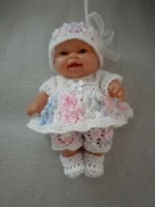 HAND KNITTED DOLLS CLOTHES 8 INCH 20 CM CHUBBY BERENGUER OR MINILAND DOLL. WHITE
