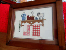 Completed cross stitched a shelf w lamb coffe pot towels & scale/