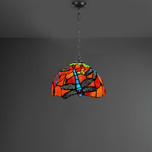 Antique Style Tiffany Dragonfly Design Pendant Lamp Hand Crafted Glass shade UK