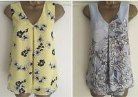 NEW EX M&Co YELLOW / BLUE FLORAL FLOATY SUMMER TOP SIZE 6 - 18