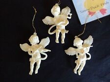 "ANGEL ORNAMENTS Set of 3 Harp Flute Violin White Plastic 4"" Christmas"