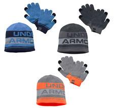 UNDER ARMOUR BOY'S 2.0 BEANIE HAT & GLOVE COMBO SET BLUE BLACK ORANGE SIZE 8-20