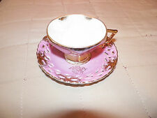 Vintage Royal Sealy Bone ChinaTea Cup & Saucer - Opalescent pink/gold