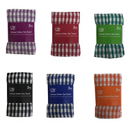 Pack of 3 Check Tea Towels 100% Cotton Terry Towel Large Size Super Absorbent