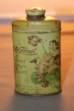 Old Tin Litho Air-Float Violet Talcum Powder Tin Talcum Puff Manhattan Can Co.