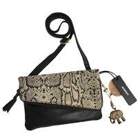 ANOKHI Saddle II Black Leather Animal Snake Pattern Crossbody Bag NEW RRP £130
