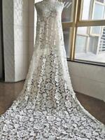 Ivory Guipure Flower Fabric Soft Bridal Dress By the yard Lace Fabric 51''