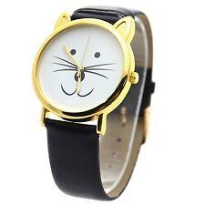 Men & Women Lovely CAT FACE Faux Black Leather Quartz Retro Wrist Watch & Box**
