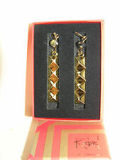 WATERFORD REBEL ELLA B DESIGNER GOLD TONE METAL DROP EARRINGS HOOKS BOXED PUNK