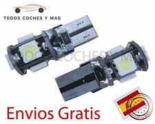 2 X BOMBILLAS COCHE CANBUS T10 5 LED SMD 5050 MATRICULA INTERIOR LECTURA BLANCO