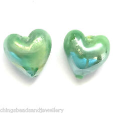 50 GREEN AB Lampwork Glass 12 mm Heart Beads