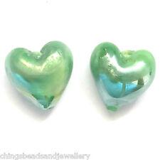 50 Green AB Lampwork Glass 12mm Heart Beads