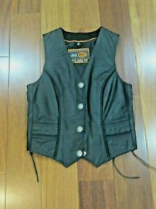 """Women's Black Leather Motorcycle Vest """" Buffalo Snap Braided style"""" Size Small"""