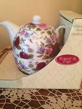 NEW IN BOX CHARLOTTE ROSE FINE BRITISH PORCELAIN TEAPOT & CUP FLORAL DESIGN