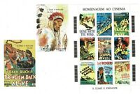 Homenaje al Cinema Sto. Tome Principe año 1995 stamps cine clasico