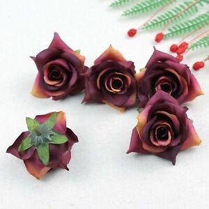 Fake Rose Artificial Silk Flower Heads Craft Wedding Decor 20-100Pcs(Burgundy)