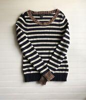 Banana Republic Crew Neck Cotton Knit Navy Striped Pullover Sweater Women's XS