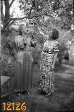vintage negative! elegant women eating fruits in garden, funny 1930's