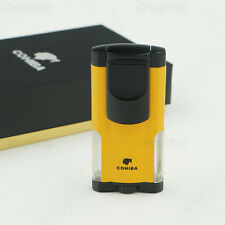 COHIBA Fancy Yellow Metal 3 TORCH JET FLAME CIGAR CIGARETTE LIGHTER New Arrival