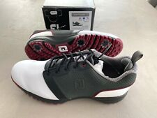 FootJoy Contorno Para Golf Zapatos Blanco/Negro/Rojo UK 10.5 Medio - Ex Display