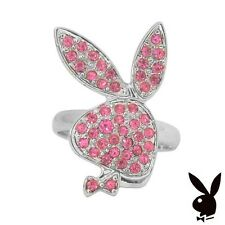 NEW Playboy Ring Bunny Pink Swarovski Crystal Silver Plated Band Size 5.5 - 9 S